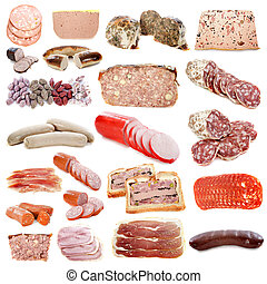 cooked meats in front of white background