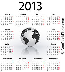 Calendar for 2013 in Spanish with globe