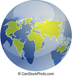 Map of the world illustration on globe - Map of the world...