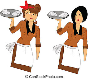waitress - two styles of waitress one retro and one modern...