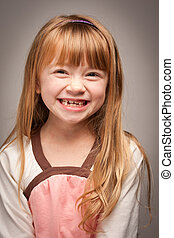 Fun Portrait of an Adorable Red Haired Girl on Grey - Fun...