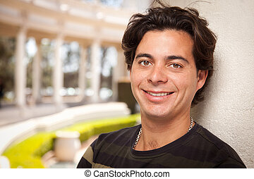 Handsome Hispanic Young Adult Man Portrait Outdoors