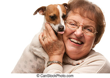 Happy Attractive Senior Woman with Puppy on White - Happy...