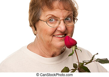 Attractive Senior Woman with Red Rose - Attractive Senior...