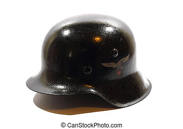 Nazi Helmet - Isolated black metal antique war helmet used...