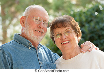 Happy Senior Couple Outdoor Portrait - Happy Affectionate...