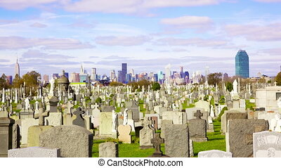 Calvary Cemetery - Midtown Manhattan skyline over Calvary...