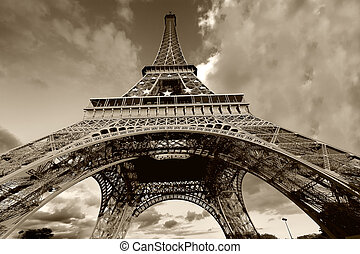 Eiffel Tower in black and white, Paris France