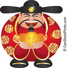 Chinese Prosperity Money God with Gold Bar - Happy Chinese...