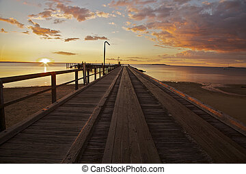 Sunset on the Dock - Fraser Island - Sunset on the Dock at...