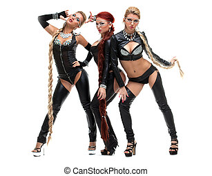 bdsm dancers in latex costumes with plaits - Full length...