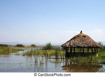 Grass hut - A grass hut on Lake Chamo in Arba Minch,...