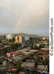 Hope - A rainbow over Addis Ababa, Ethiopia--a country...