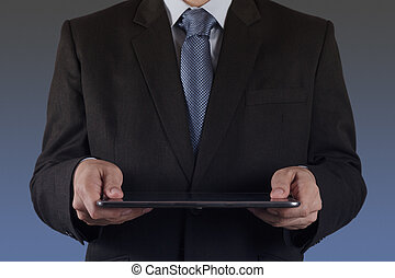 businessman using tablet computer - businessman hand using...