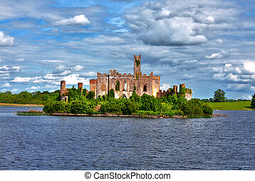 Lough Key castle Roscommon River Shannon - Dramatic view to...