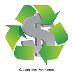dollar recycle illustration sign over a white background