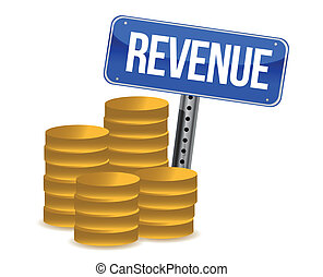 revenue coins and sign illustration design over a white...