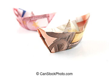 Ship of Money - Ship made of money isolated on a white...