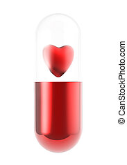 red heart pill inside capsule on white