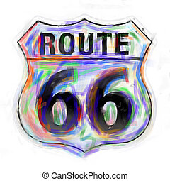 Abstract route 66 sign - Route 66 sign done in a painterly...