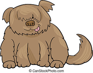 Sheepdog shaggy dog cartoon illustration - Cartoon...