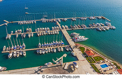 Marina - Helicopter aerial shoot of marina with boats and...