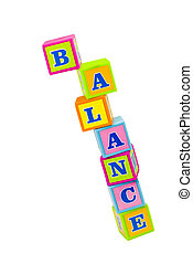 Balance - toy building blocks about to topple and spelling...