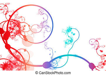 Red Blue Purple Abstract Curving Line Vines