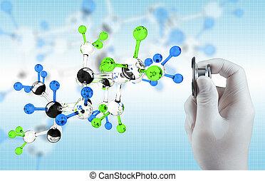 científico, doctor, mano, Tacto, virtual, molecular,...