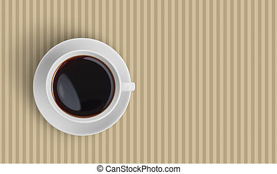 Top view of black coffee cup on striped background