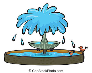a fountain - illustration of a fountain on a white...