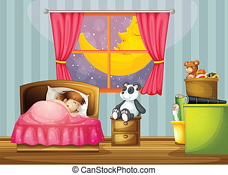 a girl - illustration of a girl in a beautiful bed room