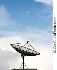 satellite dishes antenna on sky backgruond