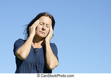 Stressed mature woman menopause - Portrait sad and stressed...