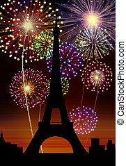 Fireworks Happy New Year Paris city