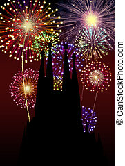 Fireworks Happy New Year Tibidabo Church