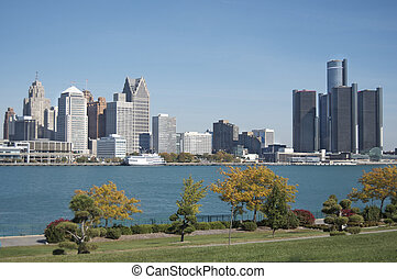 Detroit Skyline from Canada - Detroit skyline shot with...