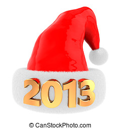 2013 christmas hat - 3d illustration of christmas hat with...