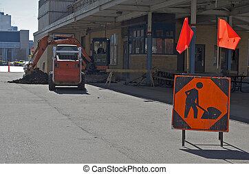 homens, trabalhando, sinal