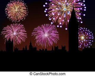 ciudad, fuegos artificiales, londres, año, nuevo, feliz