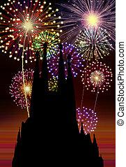 Fireworks Happy New Year Barcelona city