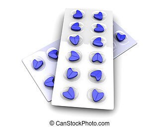 Blue Love Pills - 3D rendered Illustration isolated on white...