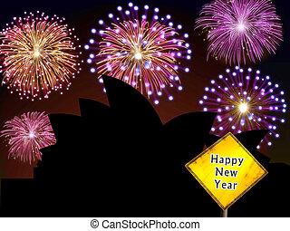Australia Fireworks Happy New Year