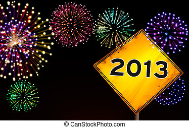 Happy New Year fireworks road sign