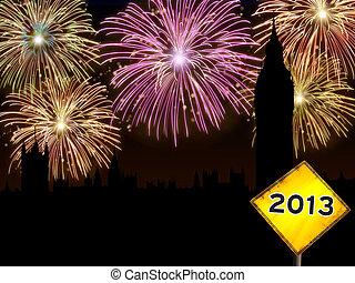 Happy New Year London fireworks