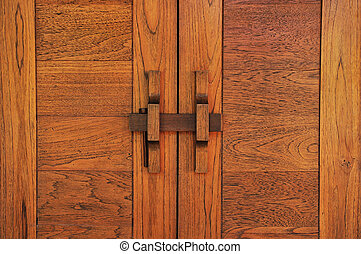 Thai classic wood door with wood bolt