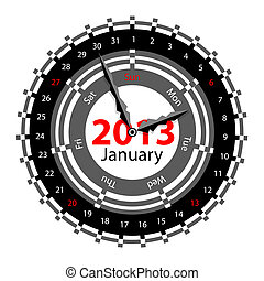 Creative idea of design of a Clock with circular calendar for 2013.  Arrows indicate the day of the week and date. January