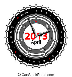 Creative idea of design of a Clock with circular calendar for 2013.  Arrows indicate the day of the week and date. April