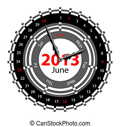 Creative idea of design of a Clock with circular calendar for 2013.  Arrows indicate the day of the week and date. June