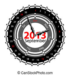 Creative idea of design of a Clock with circular calendar for 2013.  Arrows indicate the day of the week and date. September